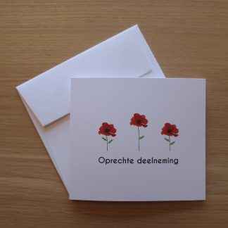 Rouw deelnemingskaart poppy klaproos
