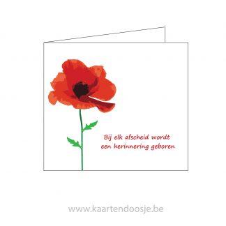 Deelnemingskaart rouwkaart poppy