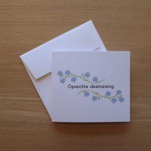 Deelnemingskaart oprechte deelneming vergeet-mij-nietje bloem rouwkaart